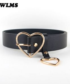 New Arrival Silver pin buckle belts girlfriend gold heart shape buckles black leather Women Punk jean belt students thin gifts