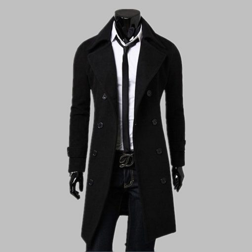 New Fashion Trench Coat Men Long Coat Winter Famous Brand Mens Overcoat Double-Breasted Slim Fit Men Trench Coat Plus Size 4