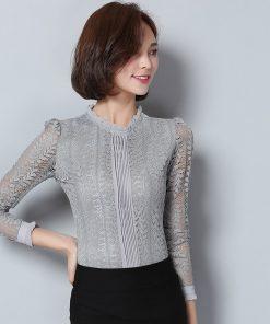New 2018 fashion lace women blouse shirt long sleeve slim gray women's clothing plus size hollow out women tops bluasa C903 30 1