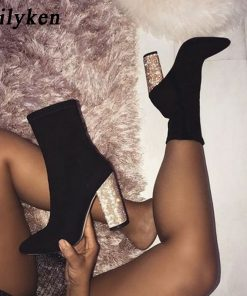 Eilyken 2018 New Stretch Fabric Ankle Boots Women For Autumn Winter Fashion Round Toe Bling heel Woman Chelsea Boots