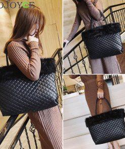 Elegant Fur Plaid Leather Shoulder Handbags Women Large Capacity Totes Bags 1