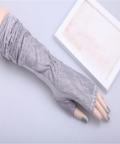 Fashion 2018 Summer Female Sexy 5-color Lace Leak Finger Gloves Cotton Lace Arm Cuffs UV Sleeves Elbow Arm Length Arm Mittens