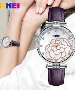 SKMEI Women Fashion Watches Leather Strap Ladies Quartz Watch Luxury Brand Waterproof Dress Casual Wristwatches Relogio Feminino 1