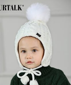 FURTALK Children Winter Pompom Hat Scarf Set for Girls Boys Kids Knitted Hat Real Fox Fur Pompom Ears Hats Baby Hat 1