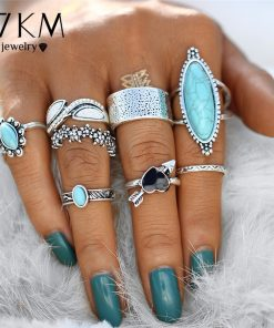 17KM Vintage Big Stone Midi Ring Set For Women Boho Antique Silver Color Heart Flower Knuckle Rings Boho Jewelry Anillos Gift  1