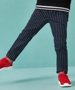 Balabala stripe straight pants for the boy fashion regular trousers boy autumn pants toddler kids with elastic waist pants 1