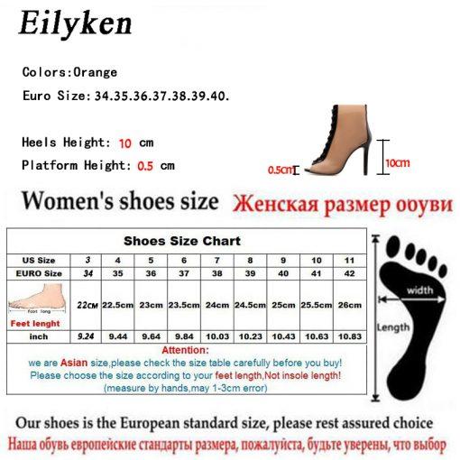 Eilyken 2018 New Women Orange PVC Ankle Boots Peep Toe Transparent Women Boots Rubber Sole Autumn Cross-tied Booties Shoes 5