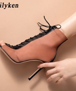 Eilyken 2018 New Women Orange PVC Ankle Boots Peep Toe Transparent Women Boots Rubber Sole Autumn Cross-tied Booties Shoes