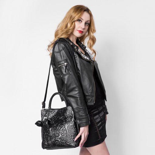 REALER brand genuine leather handbag female leather black tote bag high quality floral embossed handbag ladies shoulder bag 2