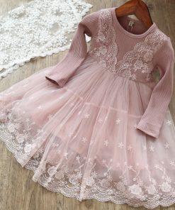 Humor Bear Long Sleeve Girl dress Princess Dress 2018 Spring Girl Dress Petals Design Baby Birthday Party Dress of 3-7Y 1