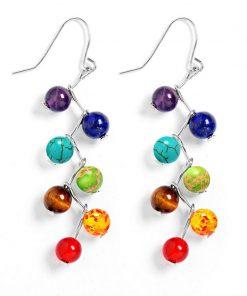 DIEZI Brincos Vintage Fashion Silver Plated  Bead 7 Chakra Healing Balance Drop Earrings Party Earrings for Women Jewelry Mujer
