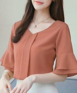 2018 fashion Chiffon women shirts blouse summer short sleeve V-neck women's clothing white loose feminine tops blusas D643 30 1