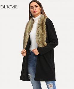 COLROVIE Black Solid Faux Fur Longline Neckline Winter Women Coats 2018 Autumn Street Fashion Office Warm Elegant Lady Outwear   1