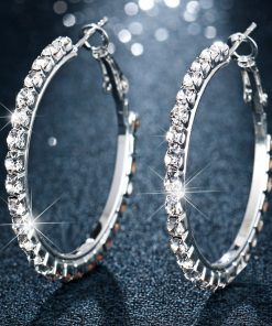 17KM Fashion Oversize Circle Hoop Earrings for Women Girl New Geometric Crystal Round Earring Brincos Party Jewelry Gift 1