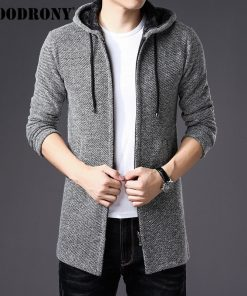 COODRONY Sweater Men Clothes 2018 Winter Thick Warm Long Cardigan Men With Hood Sweater Coat With Cotton Liner Zipper Coats H004 1