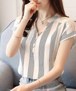 2018 Summer Chiffon Women Blouse shirts short Sleeve Striped blouses women' tops blusas fashion V-neck women's clothing D635 30 1