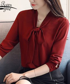 Casual Bow V-neck OL Blouse Fashion Woman Blouses 2018 Long Sleeve Chiffon Women Blouse Shirt Blusa Feminina Shirt Women1022 40
