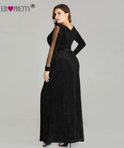 Plus Size Evening Dresses Long Ever Pretty EP07394 Elegant Sparkle Mermaid V-neck Velvet Long Sleeve Black Wedding Guest Gowns 1