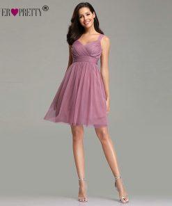Ever Pretty Plus Size Dusty Pink Homecoming Dresses 2018 EZ03034 Sweetheart Tulle A-line V-neck Vestido Graduacion Corto Mujer