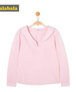 balabala Girls tshirt Children Spring Autumn Cotton Long-sleeved t Shirt Comfortable Sweet tShirts For Girls White Pink top tees