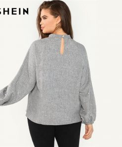 SHEIN Plus Size Pearl Beaded Long Lantern Sleeve Casual Women Grey Blouse 2018 Solid Stand Collar Autumn Work Top Blouse 1