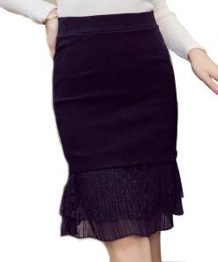 Plus size women autumn and winter new arrival lace decoration slim hip slim bust skirt short skirt female