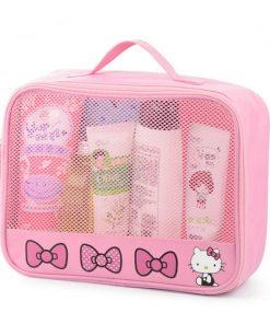 Girl Travel Portable Cosmetic Bag Women Cartoon Hello Kitty Zipper Makeup Bag Organizer Make Up Case Storage Pouch Toiletry Bag 1