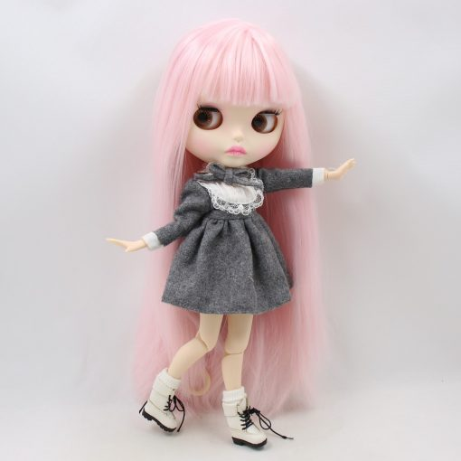 Factory blyth doll bjd joint body white skin new faceplate matte face BL2352 pale pink hair 30cm 5