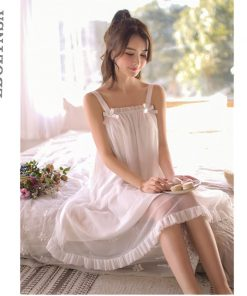 Sexy Nightwear Lingerie Women Sleeveless Strap Cold Shoulder Ruffle Laced Sleeping Dress Summer Organza Cotton Night Gown T133
