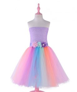 Ankle-length Flower Girls Pony Unicorn Tutu Dress with Headband Children Kids Birthday Party Dresses Costume Summer Girl Dresses 1