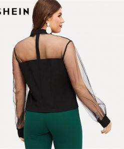 SHEIN Sexy Sheer Mesh Lantern Sleeve Stand Collar Plus Size Black Blouse Women 2019 Spring Casual Top Blouses  1