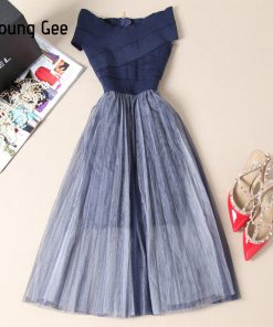 Young Gee Women Slash Party Dresses Elegant Summer Off Shoulder Bandage Stretch Mesh Ball Gown Knee-Length Sexy Club Dress robe