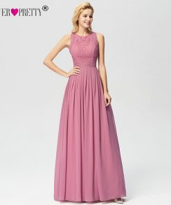 Long Evening Dresses 2018 Ever Pretty Elegant Beading A Line Pleated Chiffon Lace Formal Dress Party Gown EP07391 robe de soiree 1