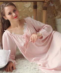 Long White Cotton Sexy V Neck Sleep Wear Night Shirt Home Dress Vintage Nightgown Princess Sleepwear 2019 Ladies Nightdress T350 1