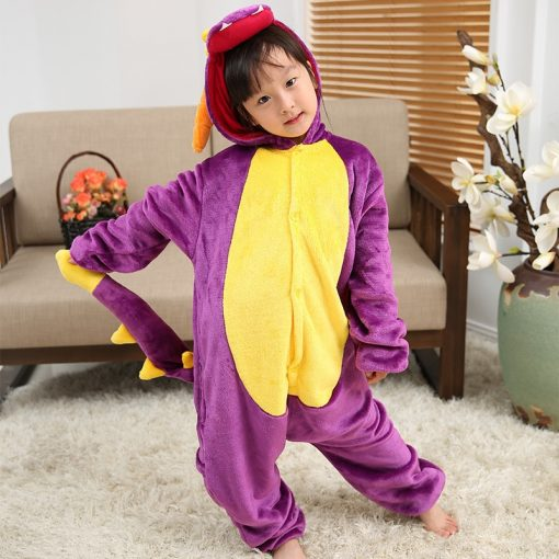 EOICIOI Kids Pajamas Flannel Animal Pegasus Stitch Unicorn Cosplay Pyjamas For Boys Girls Winter Warm Children Sleepwear Onesies 3