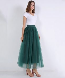 2018 Spring Fashion Womens Lace Princess Fairy Style 4 layers Voile Tulle Skirt Bouffant Puffy Fashion Skirt Long Tutu Skirts 1