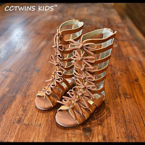 CCTWINS KIDS 2017 Summer Baby Girl Genuine Leather Knee High Gladiator Sandal Kid Fashion Children Beach Lace Up Black Shoe B414 1