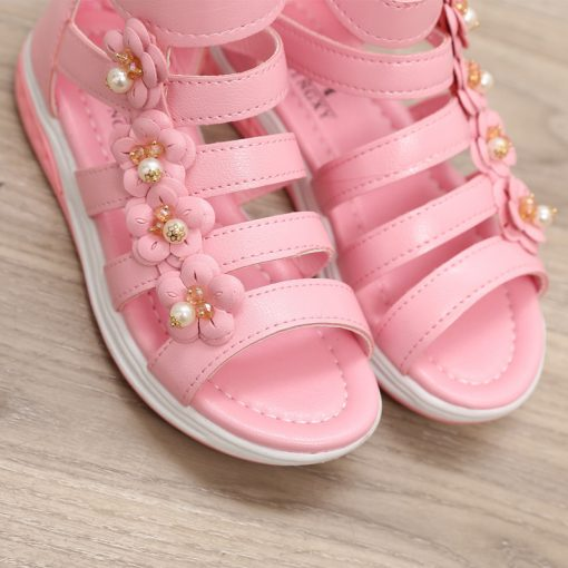 Girls Shoes Sandals Kids Leather Shoes Children Floral Gladiator Sandals Baby Girls Flat Princess Beach Shoes Kids Casual Shoes 2