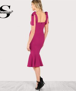 Sheinside Bright Hot Pink Straps Bodycon Party Dress Office Lady Plain Elegant Sleeveless Ruffle Hem Fishtail Penci Women Dress 1