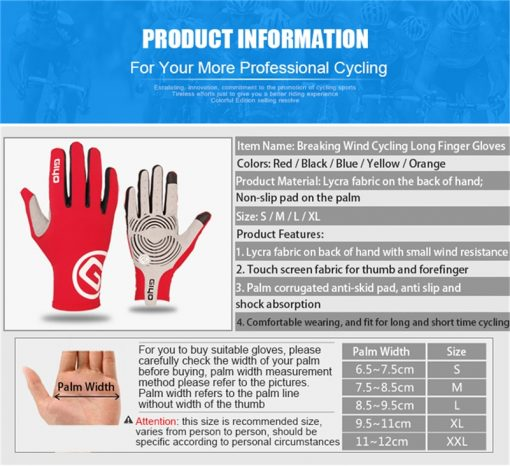 GIYO Breathable Cycling Gloves Touch Screen Anti Slip Gel Pad Road Bike Full Finger Gloves Windproof Bicycle MTB Bikes Gloves 5