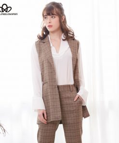 Bella Philosophy 2018 Spring Plaid Blazer Vest Women Casual Sleeveless Pockets OL Coat Waistcoat Female Single Breasted Outwears