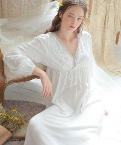 Vintage Sexy Sleepwear Women Cotton Medieval Nightgown White Deep V Neck Backless Princess Night Dress Plus Size lingerie T42 1
