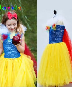 Yellow Princess Girl Snow-white Tutu Dress Fluffy Girl Tulle Dress for Birthday Pageant Kids Party Dresses Carnival Ball Gown