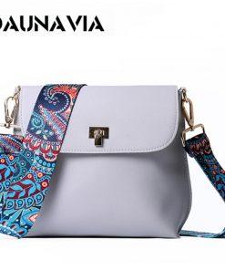 DAUNAVIA Brand bags for women 2019 Women PU Leather Shoulder bags Crossbody women Messenger Bags with Colorful Strap Handbags