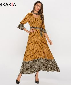 Siskakia Fashion Print Women Patchwork Long Dress Spring 2019 New Arrival Elegant Ethnic Maxi Dresses Yellow V Neck Slim Sash 1