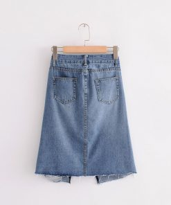 Bella Philosophy 2018 spring denim mini skirt White hole Wash Women casual split skirt Washed Color Split Jupe 1