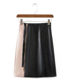 Bella Philosophy Women 2018 new autumn winter two color stitching zipper faux leather long skirt 1