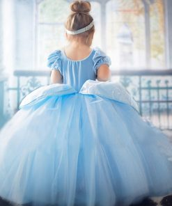 Elsa long Ball Gowns Children Role-play Costume Princess Cinderella Girls Dress Christmas Costumes Party Vestidos Blue 4-10Years