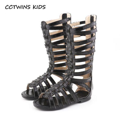 CCTWINS KIDS 2018 Summer Baby Girl Knee High Gladiator Sandal Kid Fashion Soft Flat Children Beach Gold Shoe Toddler BG063