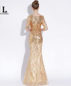 LOVONEY Sexy Mermaid Evening Dresses Long Half Sleeves Sequins Prom Gown Golden Formal Dress Women Occasion Party Dresses YS428 1